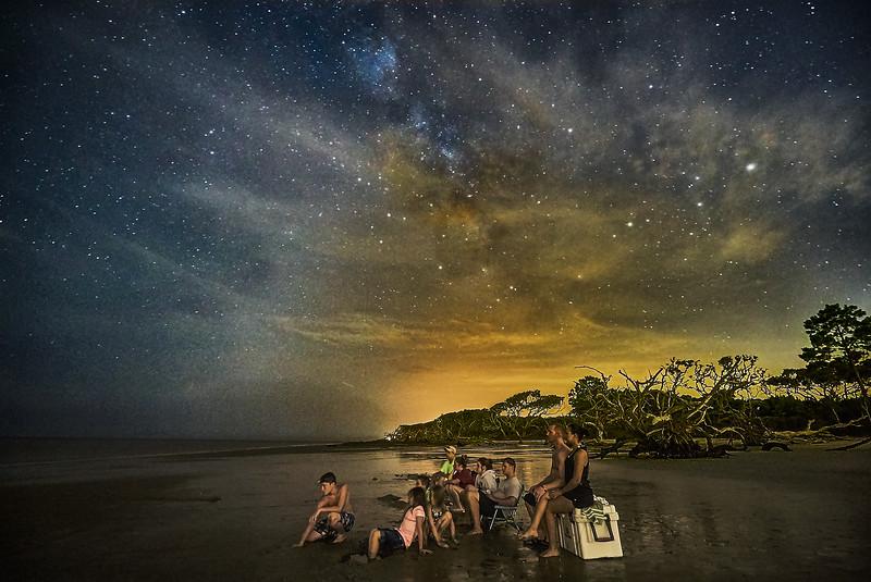 Family Night Fishing under the Milky Way