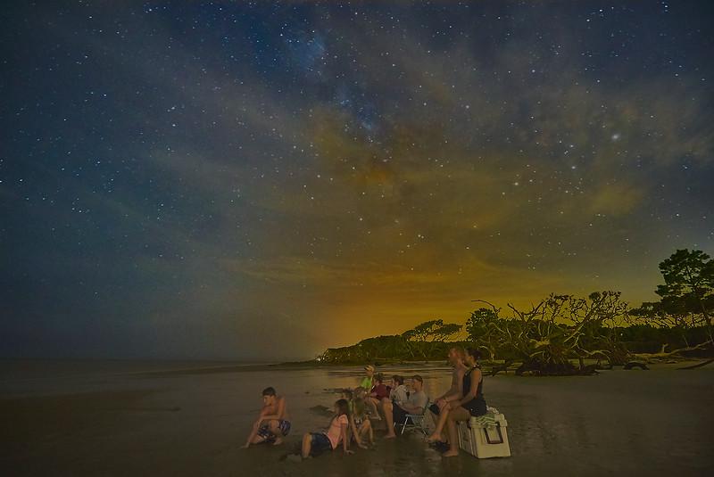 Family Night Fishing under Milky Way