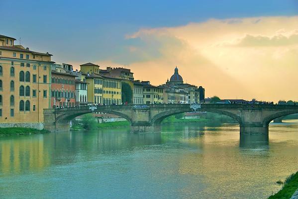 Ponte Santa Trinita and the River Arno- Florence, Italy