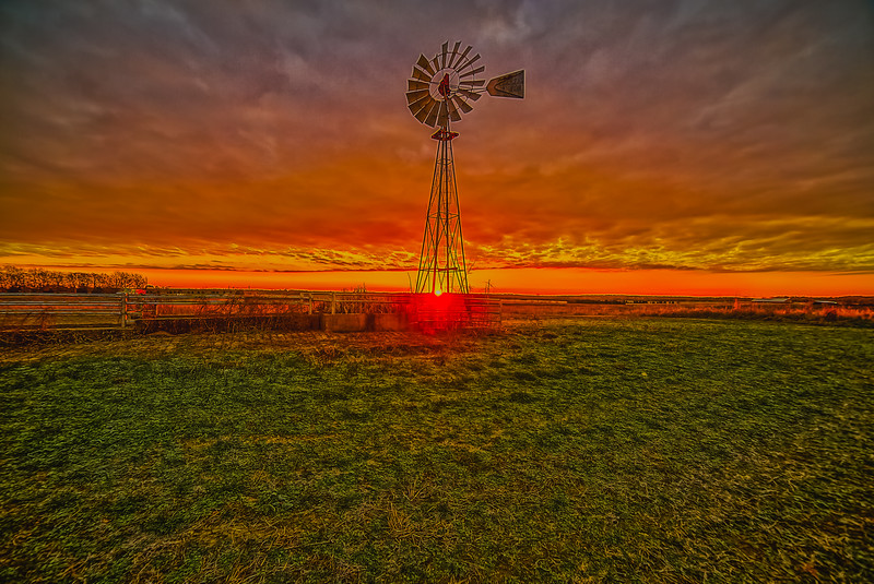 Windmill and Clouds of Fire
