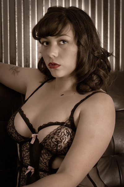 Young retro woman in a negligee