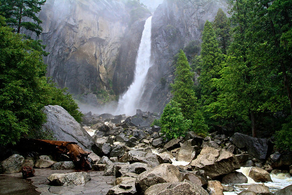 Lower Yosemite Falls during a rainstorm- Yosemite National Park, CA