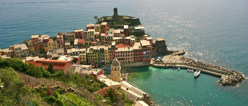 Vernazza, Italy on the Cinque Terre from above town!