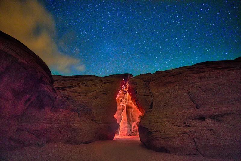 Antelope Canyon Entrance at Night