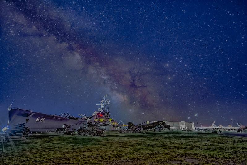 USS Alabama with Milky Way