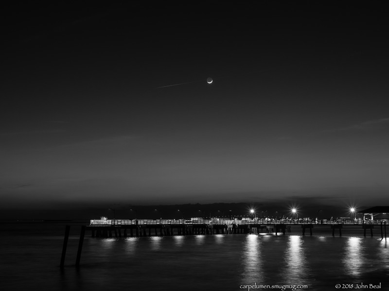 17 Feb 2018<br /> <br /> moonset in black and white, village pier, st simons island, georgia.<br /> <br /> f/11, 5s, iso 400.