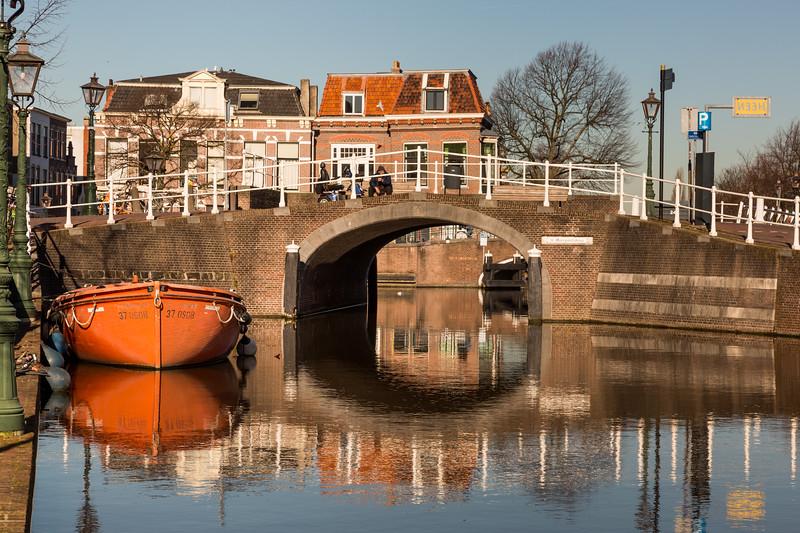 Still life with orange boat.