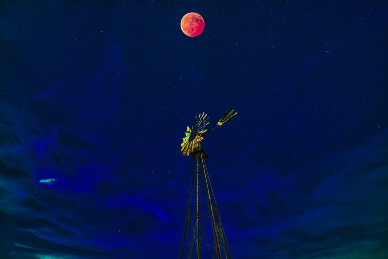 Eclipse Blood Wolf Moon over Windmill