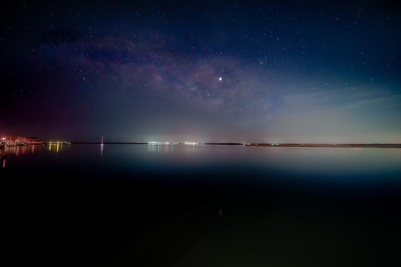 Fernandina Beach Florida as seen from St. Mary's Georgia at Night
