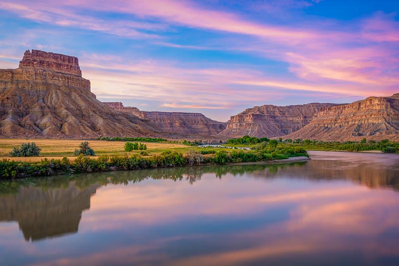 Sunset Reflections   Green River and Gunnison Butte   UT