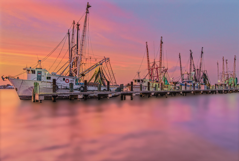 Shrimp Boats Docked on a Cloud during Sunset
