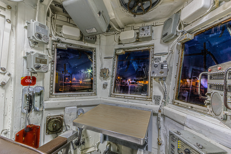 USS Halyburton Helicopter Control Tower at Night