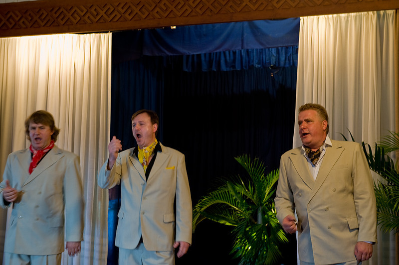 Nauris Puntulis, Guntars Rungis, Miervaldis Jencs singing in the Latvian Hall