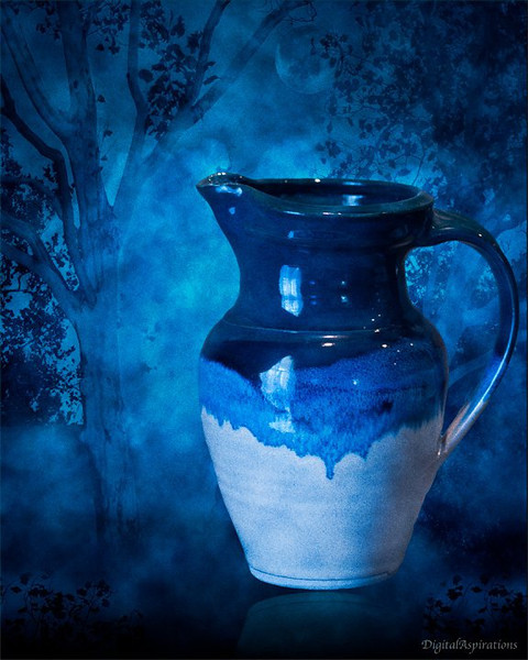 Vase by moonlight.<br /> This is a composite of the vase photo that I just captured, and 2 or 3 other images I have captured in the past.