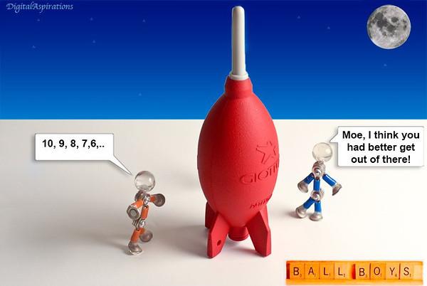 Moe tries space travel.