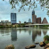 The Austin skyline from 1st and Riverside. I produced this image by stitching 3 separate vertical HDR shots in Photoshop. The total number of images used in making this photo was 63.