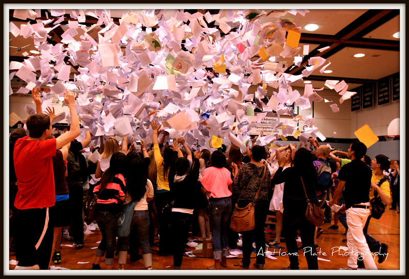 """June 3, 2011<br /> Friday, <br /> <br /> The """"Senior Paper Toss""""!.  This is a tradition at Gresham High School - the last day of school for seniors they gather in the gym with all their school papers...the count down begins and then the papers are tossed."""