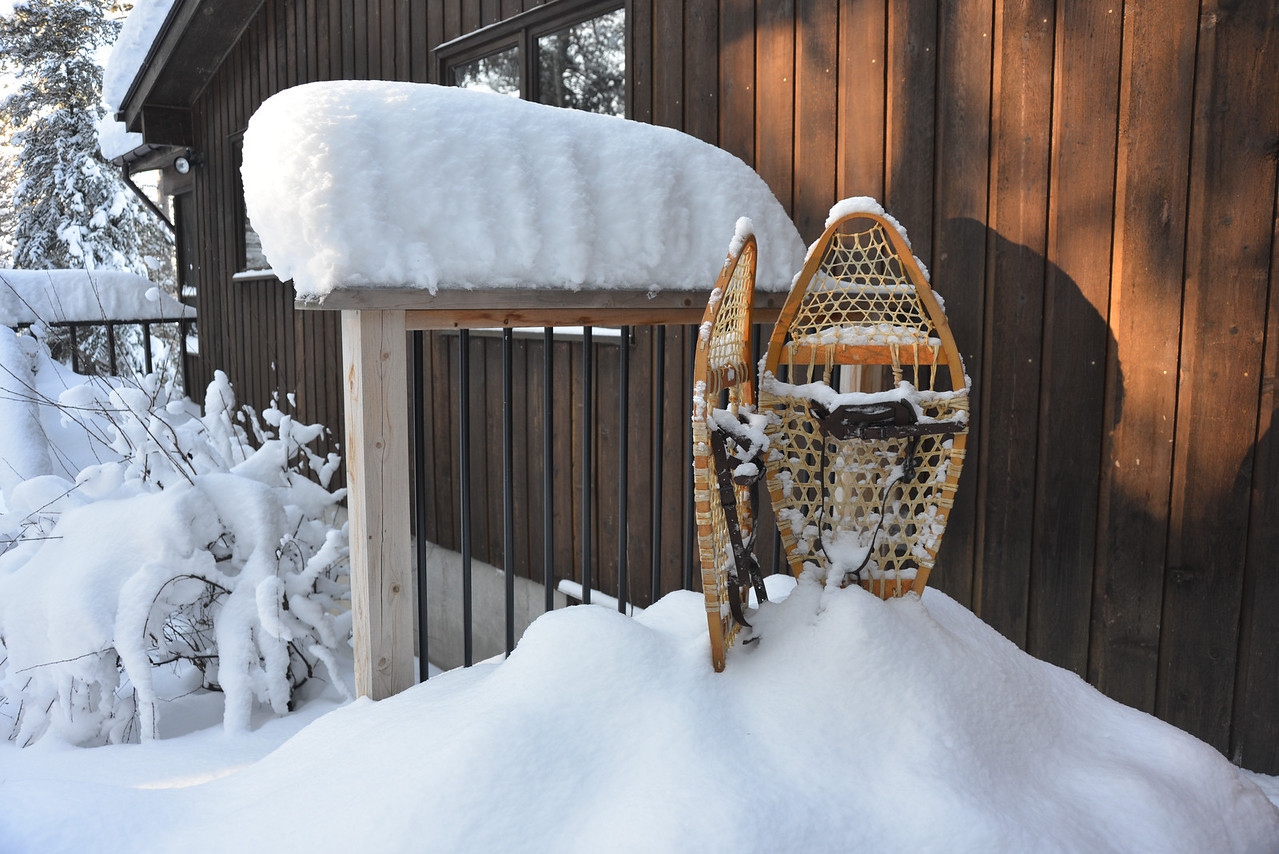 Dec 27 - These snowshoes were used for the first time in a decade at least - step, step, trip - step, step, fall.