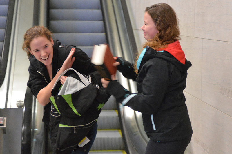 Dec 18 - Picking up Tracey after she slept through her alarm and missed her first flight.