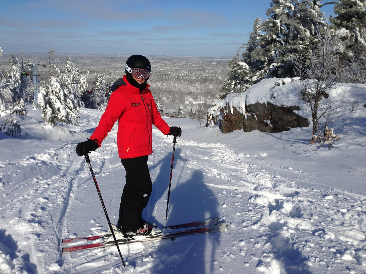 "Dec 28 - Andrea upping her skiing game. ""Crosscut"" ungroomed."