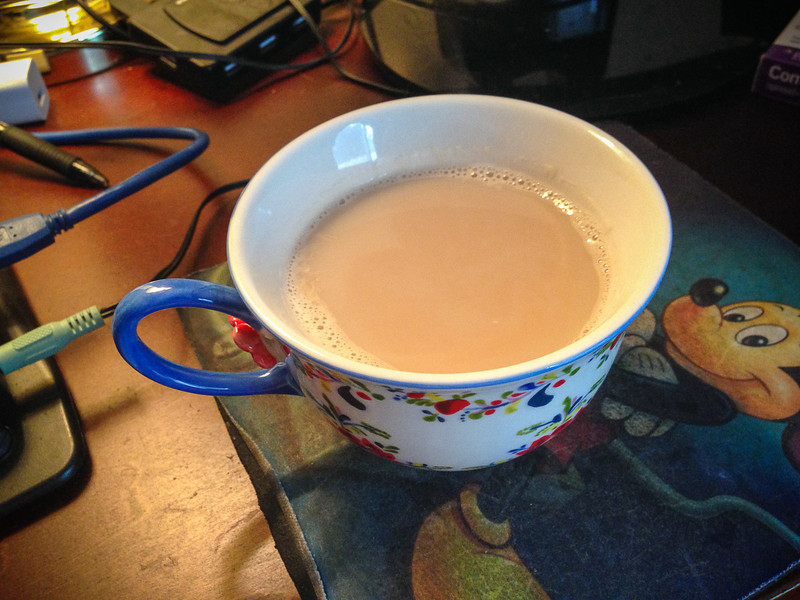 October 27, 2013 -- Morning chai, Mickey-approved.