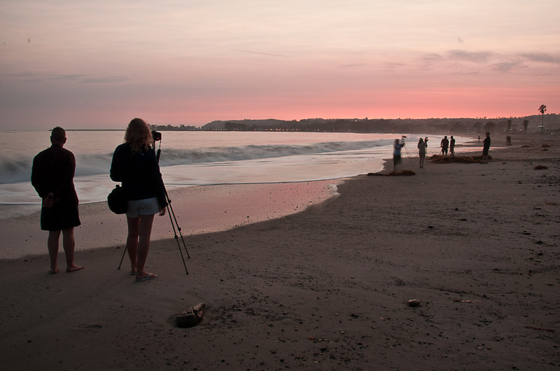 June 30, 2013 -- photographing the sunset at Doheny.  South County Photo Club beach party.