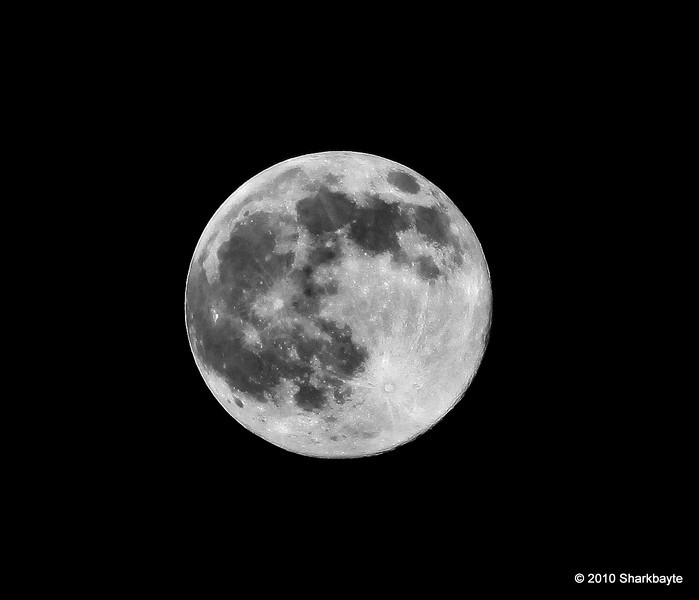 The Harvest Moon. Last night's full moon, one of my favorites. For me fall doesn't start until the harvest moon appears. #365Project Day 296 (2010.10.23) @sharkbayte<br /> <br /> Thank you for all the comments on my other moon shot yesterday and the what lies beneath shot!