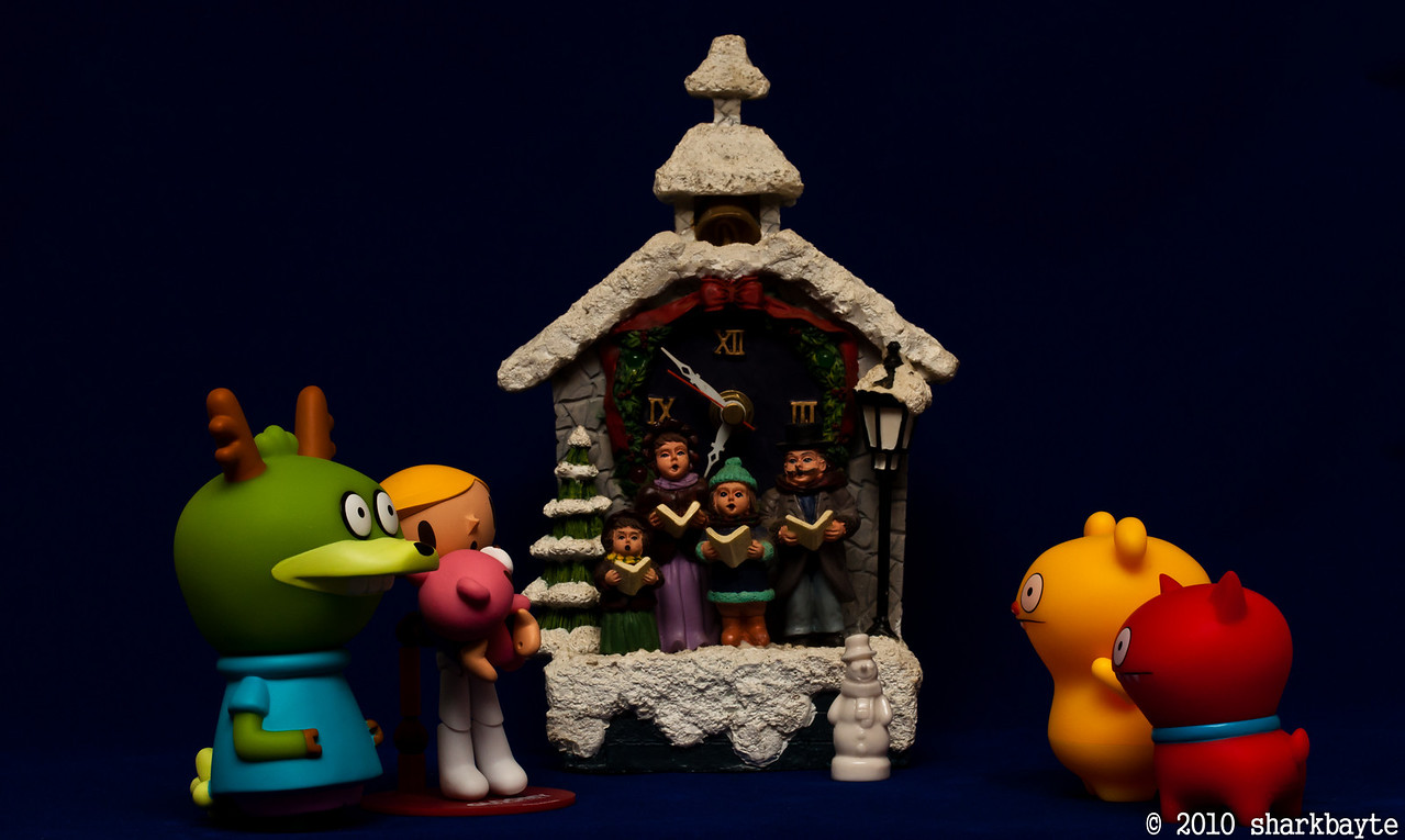 Evening walk. Pity took baby Gloomy out with a few of the gang, to see the holiday sights around town. I think I over heard the gang talking about going caroling? I hope they aren't serious, I have heard them singing...Day 342 (2010.12.08) #365Project @sharkbayte<br /> <br /> Thank you for all the comments on my deer shots yesterday.