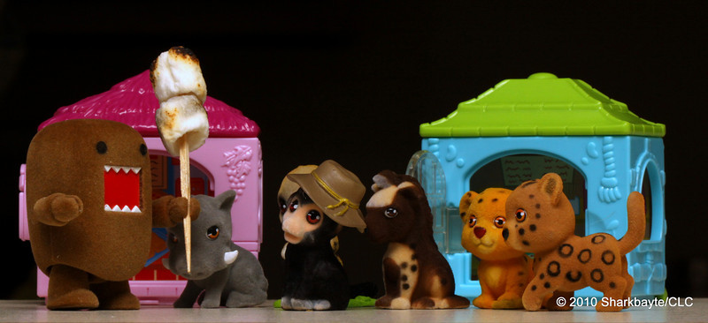 Day 144-The Zoo after dark. (2010/05/24) #365Project-Domo snuck into the Zoo after hours and gathered all the animals to tell them he is the King of the Zoo.Settings: 100.0m f/22.0 1/30s ISO: 400