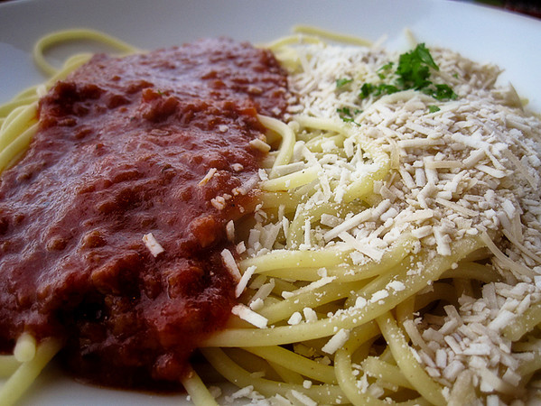 """1216 mixed - food<br /> <br /> The Spaghetti Factory's popular combination of """"Rich meat sauce"""" and """"Browned butter and Mizithra cheese."""""""