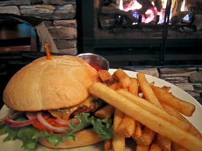 1123 warmth - food  How about cheeseburgers in front of the fireplace?  Am I getting warm?