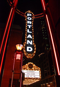 1229 downtown  Portland's iconic sign, shot through a light structure.