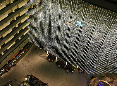 1118 light  A curtain of light hanging in the atrium of the San Francisco Hyatt.