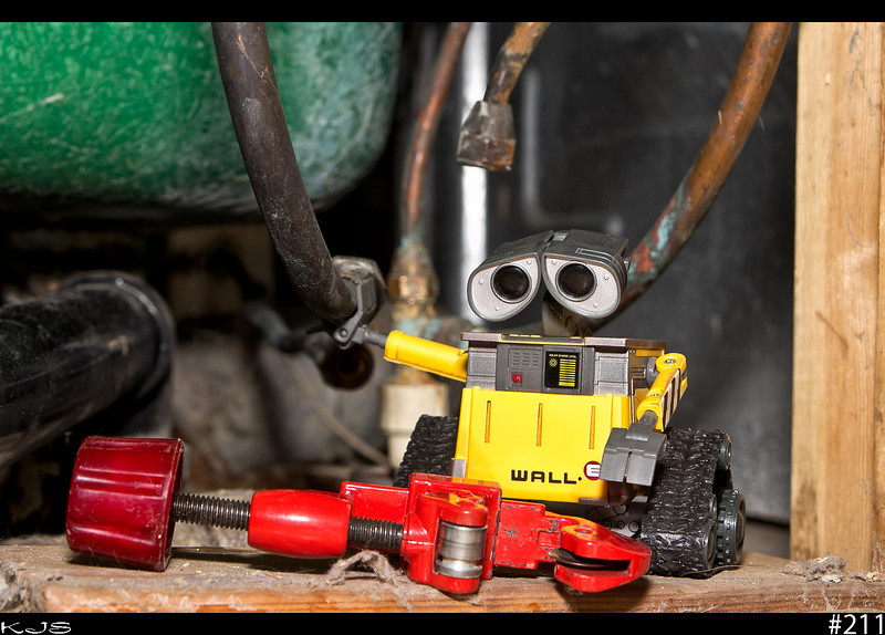 Wall-e<br /> Today we are plumbing. Wall-e works great in small places. I hope he remembers which is hot and which is cold.