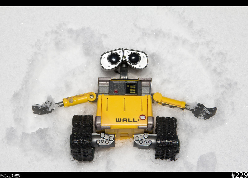 Wall-e<br /> Got some inches of snow last night so Wall-e was out taking advantage of it and making a snow angel.