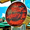 I intentionally went for the 60's/70's type postcard look, since that seemed fitting with the Krispy Kreme sign.