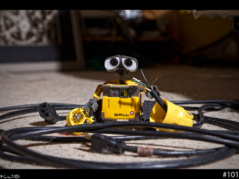 Wall-e<br /> Wall-e's task today was to rewire the plugs on the strobes. I hope Wall-e isn't color blind.