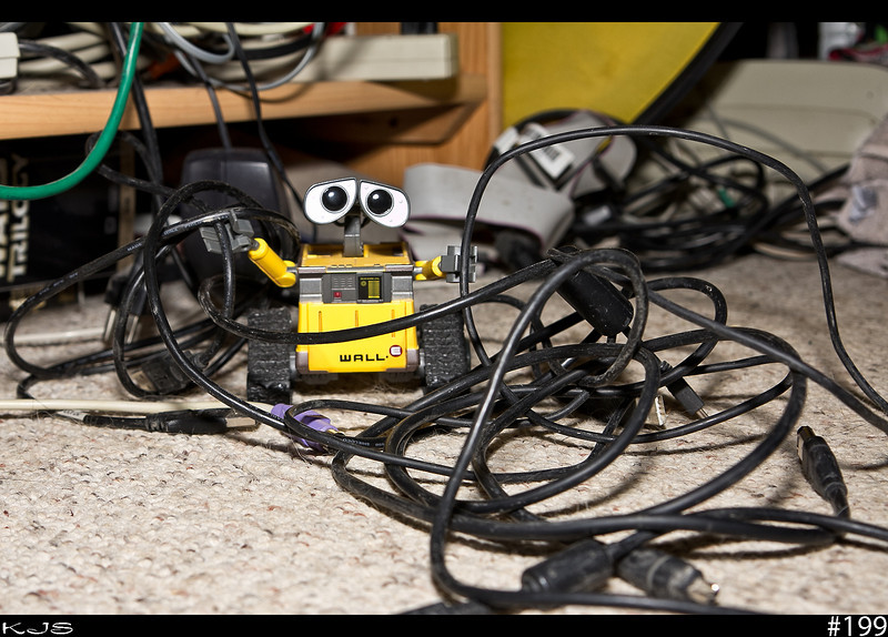 Wall-e<br /> <br /> Didn't get time to post yesterday's pic as you can see Wall-e and I were busy with wires. Wall-e was relieved when I told him the new entertainment set will all be wireless.