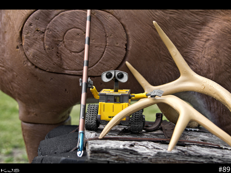 Wall-e<br /> Kickin back with wall-e today and getting some archery stuff tuned up for the season that is gonna be here shortly.
