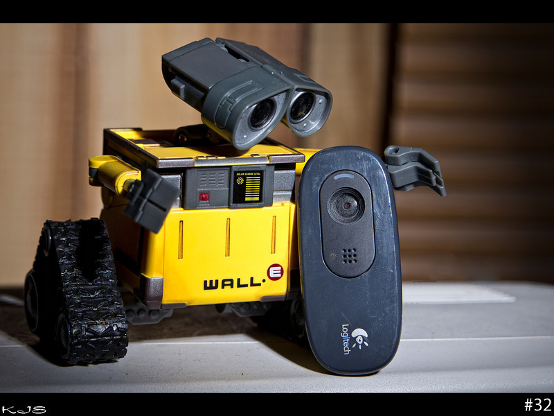 Raining today so Wall-e was going through stuff and thought he discovered Eva today and it turns out to be my webcam instead.  Where is Eva?