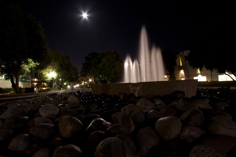 Day 91. October 7, 2010. View down Serra from the fountain at the Engineering corner. The moon did a great job of making the rocks glow.<br /> <br /> EF-S 10-22mm f/3.5-4.5 @ 12mm, f/10.0. 30s. ISO 100.