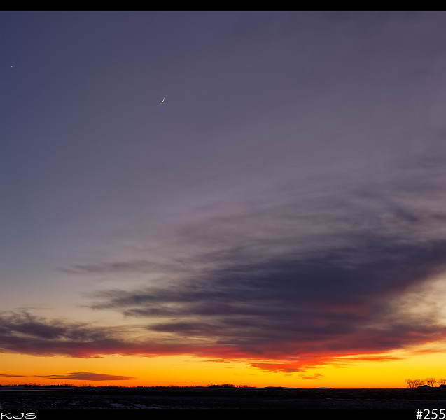 Sunset with Moon<br /> Tonight's sunset included the moon and a bright star which I assume is Venus