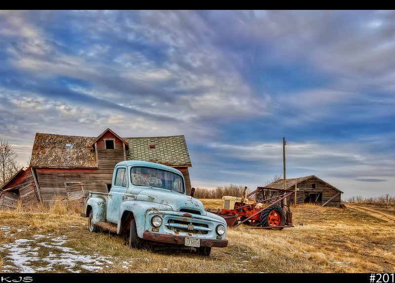 Once Upon a Farm<br /> Went to one of my favorite places today and someone had pulled out the old truck from the trees. Sounds like someone is gonna restore it possibly. The sky was just awesome this afternoon.