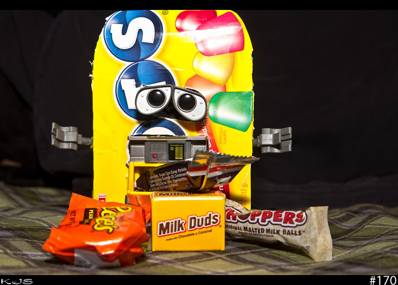 Wall-e and his homemade custome, trying to convince him that Halloween is only one day. I'm not sure how long he plans on wearing his custome, but he isn't getting any more candy that is for sure.