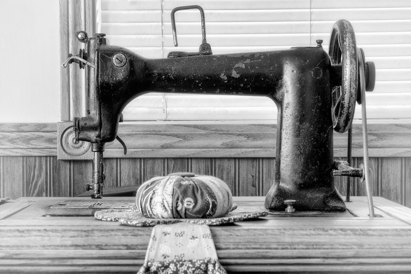 Sewing Machine<br /> My mom loves to collect these old sewing machines. She will even restore the old desks that are made for them. She has taught my daughters how to sew on the more modern machines. Sewing seems to be a skill that is getting left behind in today's world.