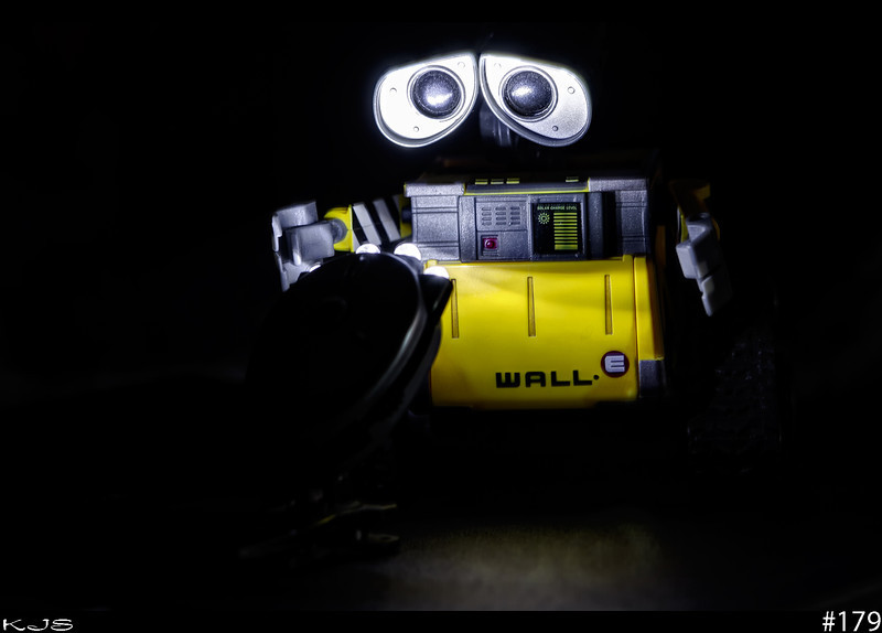 Wall-e<br /> Wall-e discovered my clip on mini-light today. I just hope he didn't drain the batteries playing with it.