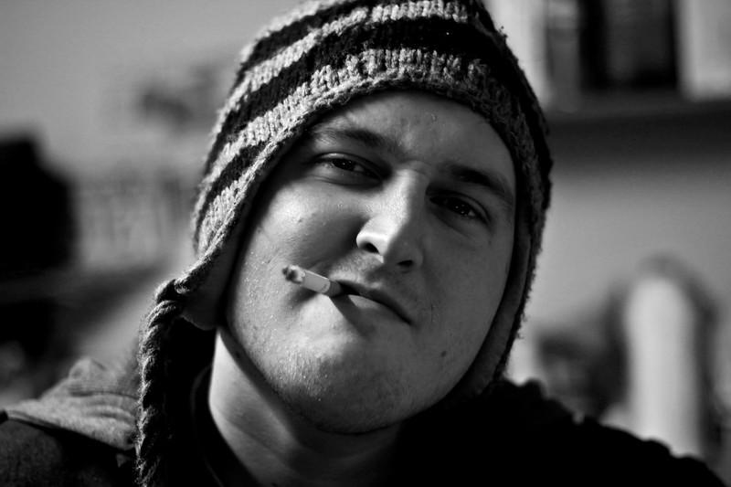 portrait jake campbell brother birthday cigarette smoke hat january