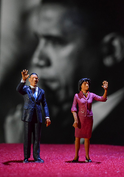 0921 big and small<br /> <br /> Little Barack and Michelle on the campaign stage in front of a big Barack.<br /> <br /> Oh, and by the way, VOTE!