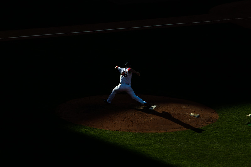 52 Weeks | 14 of 52 <br /> One of my favorite parts of Opening Day at Fenway Park is the point in the afternoon when shadows start creeping over the mound, creating some opportunities for shots like this.