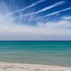 2 Blue.  Blue sky, blue water and a deserted Lake Huron beach.  Just a few vapour trails messing up the sky!